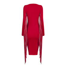 INDRESSME Long Sleeve PU Tassel Deep V Lace-up Red Bodycon Dress Midi Clearance
