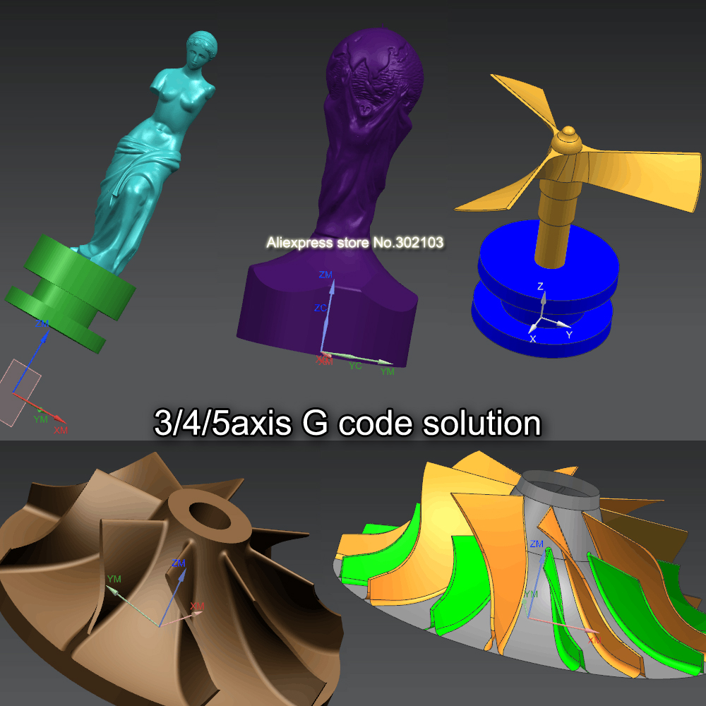 New 3D model G code 3/4/5axis for CNC 3D Carved engraving Figure Sculpture machine fit with Mach3 or USB CNC software 2017 hot sale model 5 axis cnc engraving