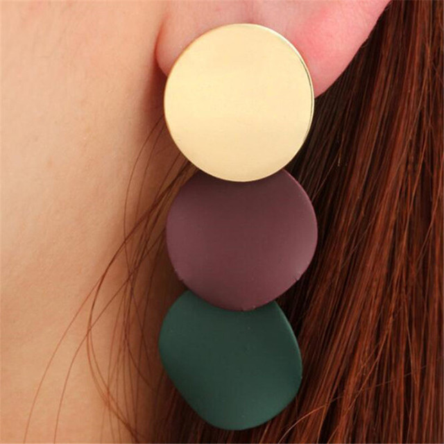 Bold Multicolor Circular Drop Earrings