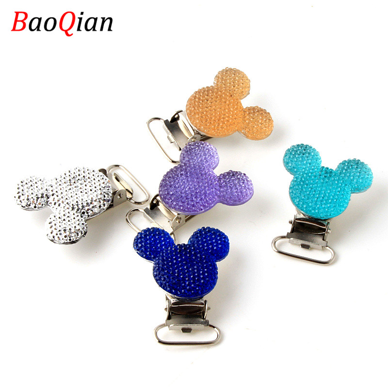 Handmade 5pcs Stainless Steel Child Nipple Funny Pacifier Lovely Resin Mouse Baby Pacifier Clips DIY Holders Pacifier Clasps