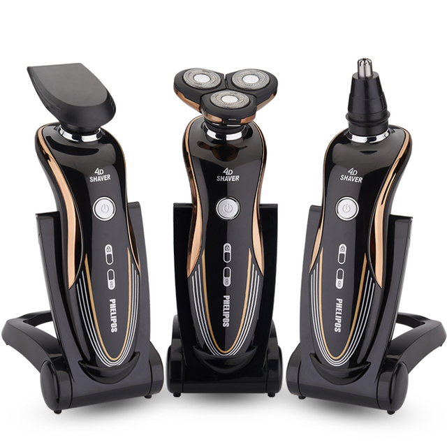 3 in1 dos homens barbeador elétrico 2016 máquina de barbear recarregável à prova d' água 3 cabeça de corte de navalha quente para philips tecnologia rq360
