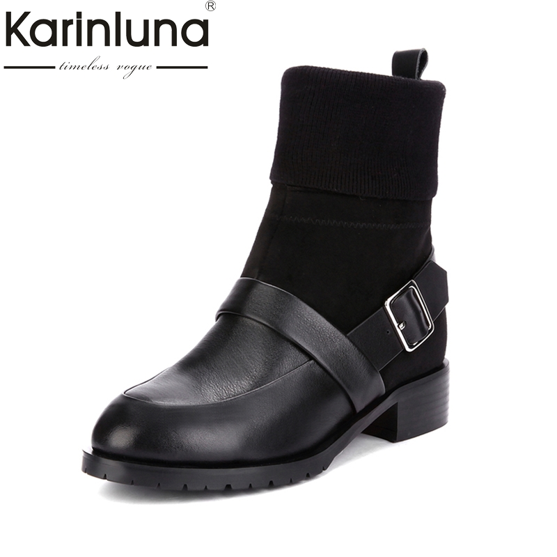 KARINLUNA New Genuine Leather Large Size 34-43 Buckle Women Shoes Fashion Square Med Heels Chelsea Boots Black Ankle Boots Woman fall new belt buckle motorcycle boots large size women s shoes black beige leisure footwear