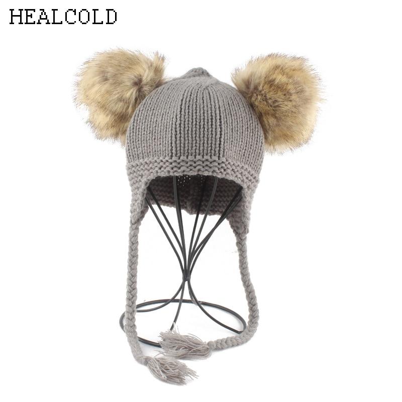 Children Baby Warm Crochet Skullies Beanies Winter Kids Hat Boys Girls Ponytail  Beanie Faux Fur Pompom Hats 631556cc026