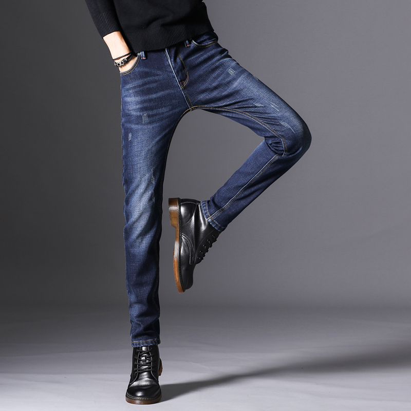 KSTUN Jeans Men Autumn and Winter Quatliy Brand Black Blue Denim Pants Slim Fit Warmer Fleece Thicken Boys Leisure Long Trousers 11
