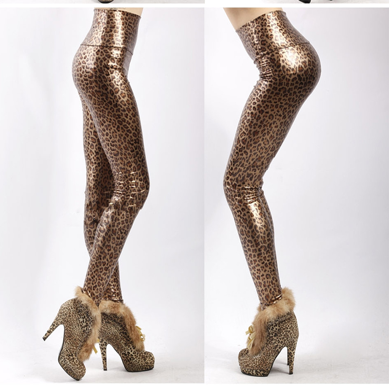 High Waist Leopard Print Faux Leather Leggings For Fashion Sexy Show Thin Leggins Women's Push Up Elastic Skinny Pants