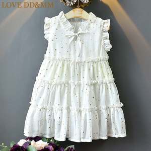 LOVE DD&MM Girls Dresses 2020 Summer New Children's Wear Girls Sweet Sleeveless Five-Pointed Star Hot Gold Princess Mesh Dress(China)