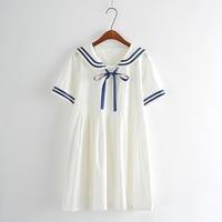 Summer New Women Japanese Sen Female Line Navy Wind Kawaii Bow College Wind Sweet Short Sleeved