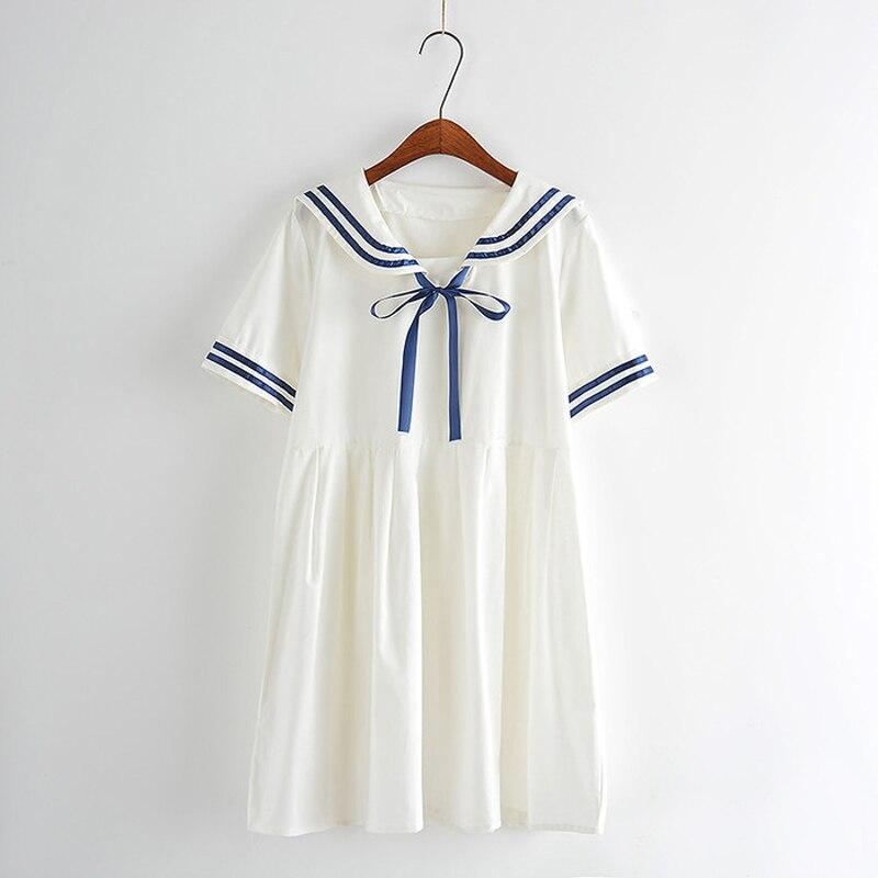 Nuevas Mujeres del verano Japonés línea femenina Sen Viento Colegio viento navy arco dulce vestido de manga corta para las niñas