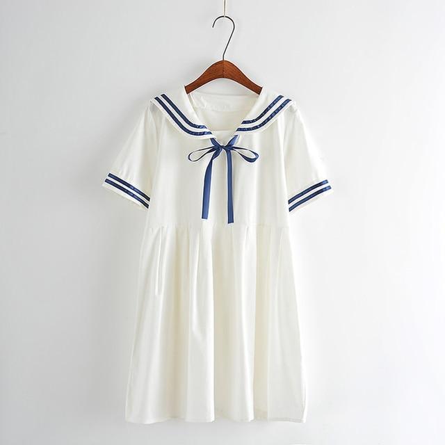 Summer new Women Japanese Sen female line navy wind bow College Wind sweet short-sleeved dress for girls