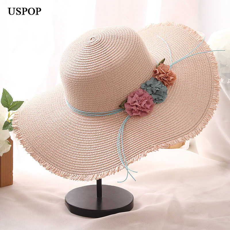 62afe6aee54499 USPOP 2019 New Fashion women summer fringed sun hats baby girl flower straw  hat casual collapsible