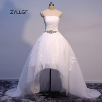 ZYLLGF Bohemian Style Wedding Dresses High Low Hem Wedding Gown Strapless Appliqued White Summger Bridal Dresses With Sash Q54