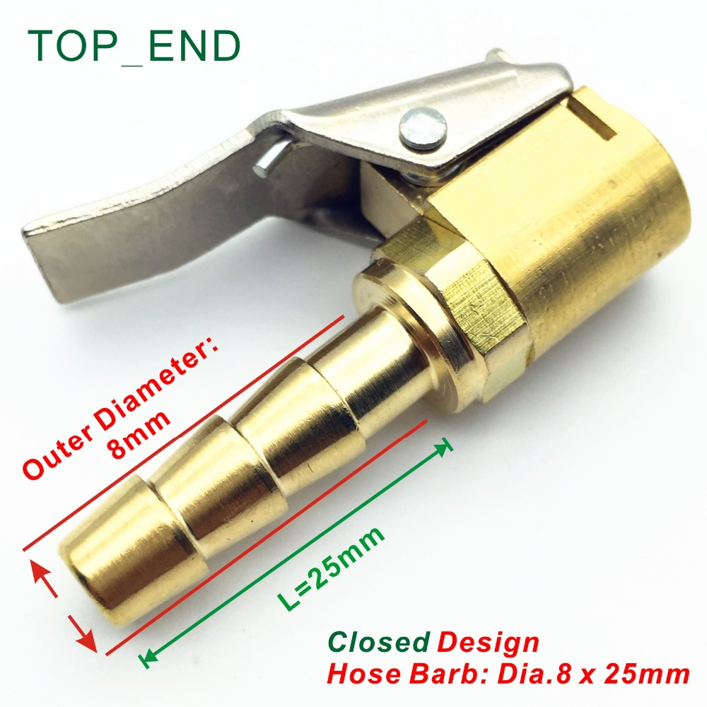8x25mm,Closed Design,Original Brass,Euro Style Air Chuck,Long Hose Barb,Tire/Tyre Inflator Gauge Fitting,<font><b>1</b></font>/4