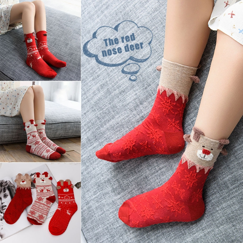 Women Winter Warm Christmas Cute Deer Pattern Crew Calf Tube Socks F05 ...