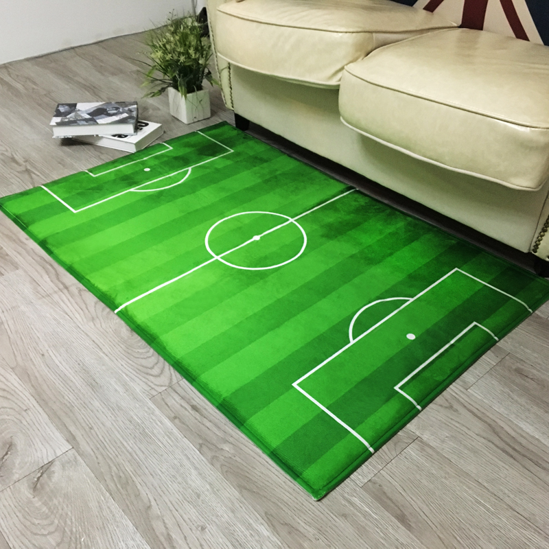 Green Football Playing Ground Mat For Living Room, Square