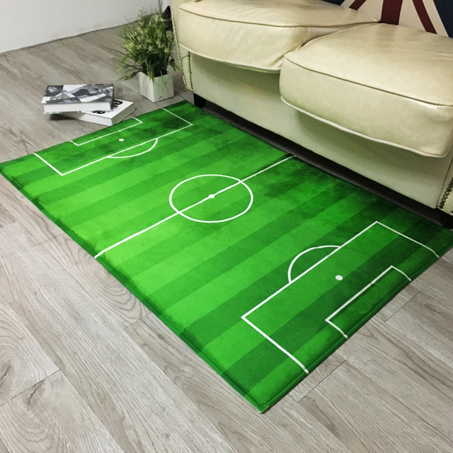 Green football playing ground mat for living room square door foot mat for hallway & Green football playing ground mat for living room square door foot ...
