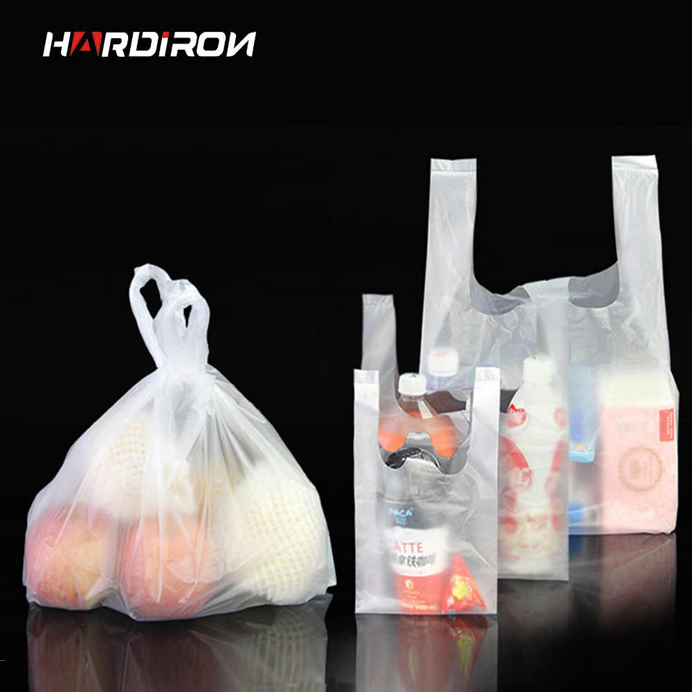 0.03mm Clear plastic fruit taker-bags Plastic pouches with handle packaging food vest pouches disposable bags