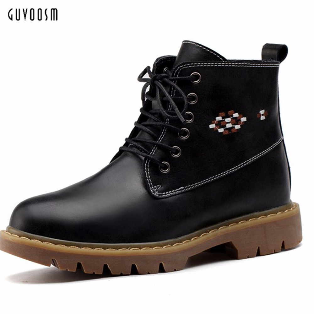 Guvoosm Ankle Boots Rubber Solid Microfiber Black Women Bota Feminina Riding Med Height Lace-up Cross-tied Super Big Size 36-44 цена и фото