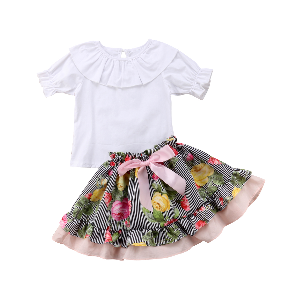 f9b7dcab2d0 Baby Girls Matching Clothes White Big Little Sister Ruffle T-shirt+Print  Shorts Overall Skirts Outfit