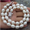 Fashion 11-13 mm natural  white baroque pearl necklace 18.
