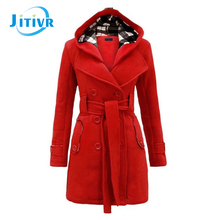 2016 Hotsale winter Fall Stylish Women Wool Belt Double Dreasted Plaid hooded coat Solid long Warm Thickened Coat Lady  6 Colors