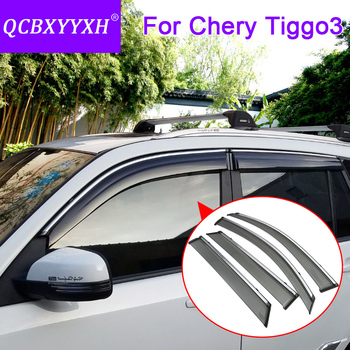 4pcs Car Styling Awnings Shelters Window Visors Sun Rain Shield Sticker Cover For Chery Tiggo3 2014-2018 External Accessories