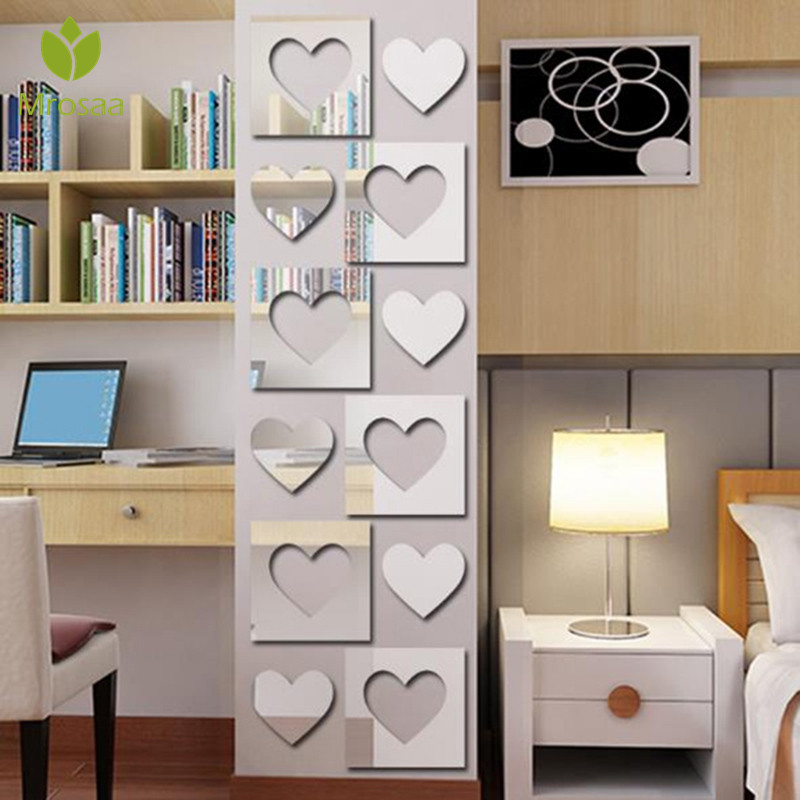 Mrosaa 3D Square Heart Film DIY Mirror Wall Stickers Home Wall Living room Office Decor Wallpaper Art Decal Plastic sticker