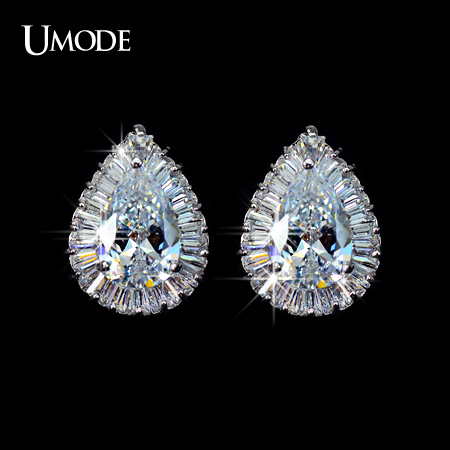 UMODE Classical Pear shaped CZ Cubic Zirconia with Rectangle small CZ surrounded Tear Stud