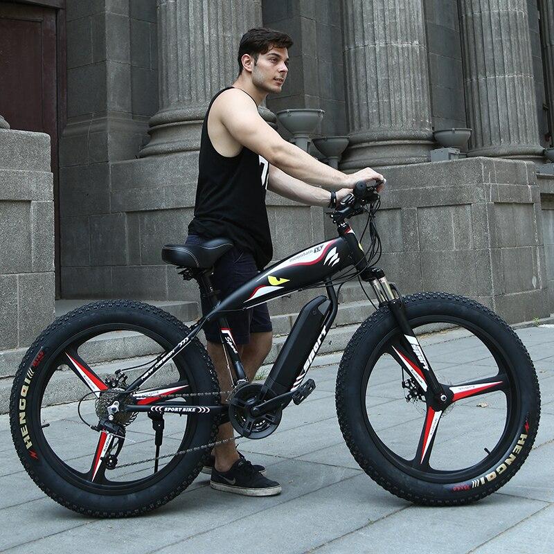 26 Электрический снег горный велосипед 4,0 шин fit Снег шины мощный Высокая скорость двигатель drive Off-road литиевая батарея пляжный Электрический ...