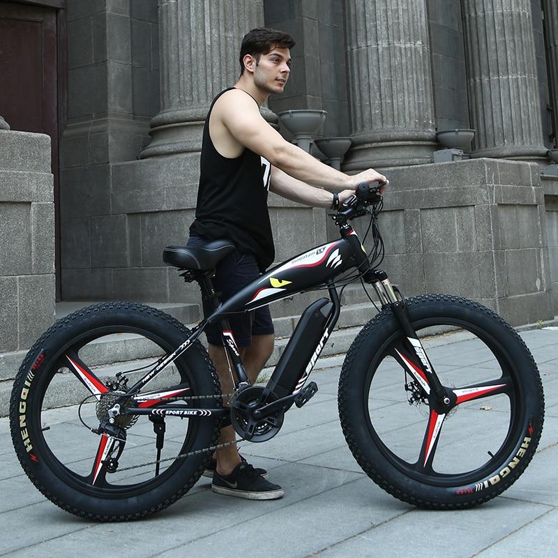 26 mountain bike 4.0 pneu fit neve pneus de neve Elétrico poderoso motor de alta velocidade drive Off-road praia ebike bateria de lítio ATV