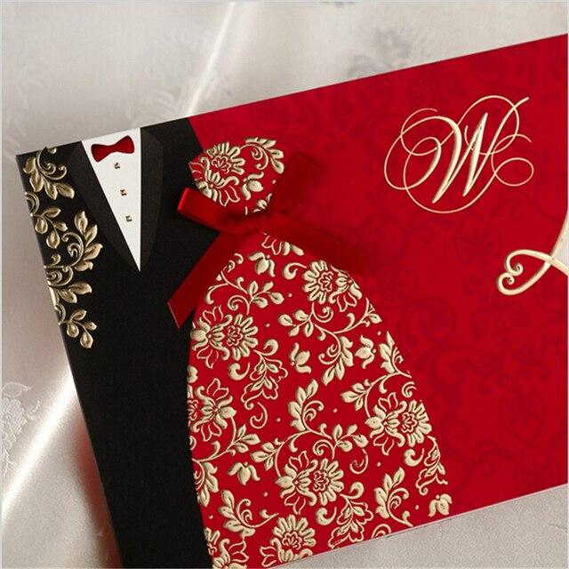 1 Pcs Birde Groom Undangan Pernikahan Cina Made Convite Casamento
