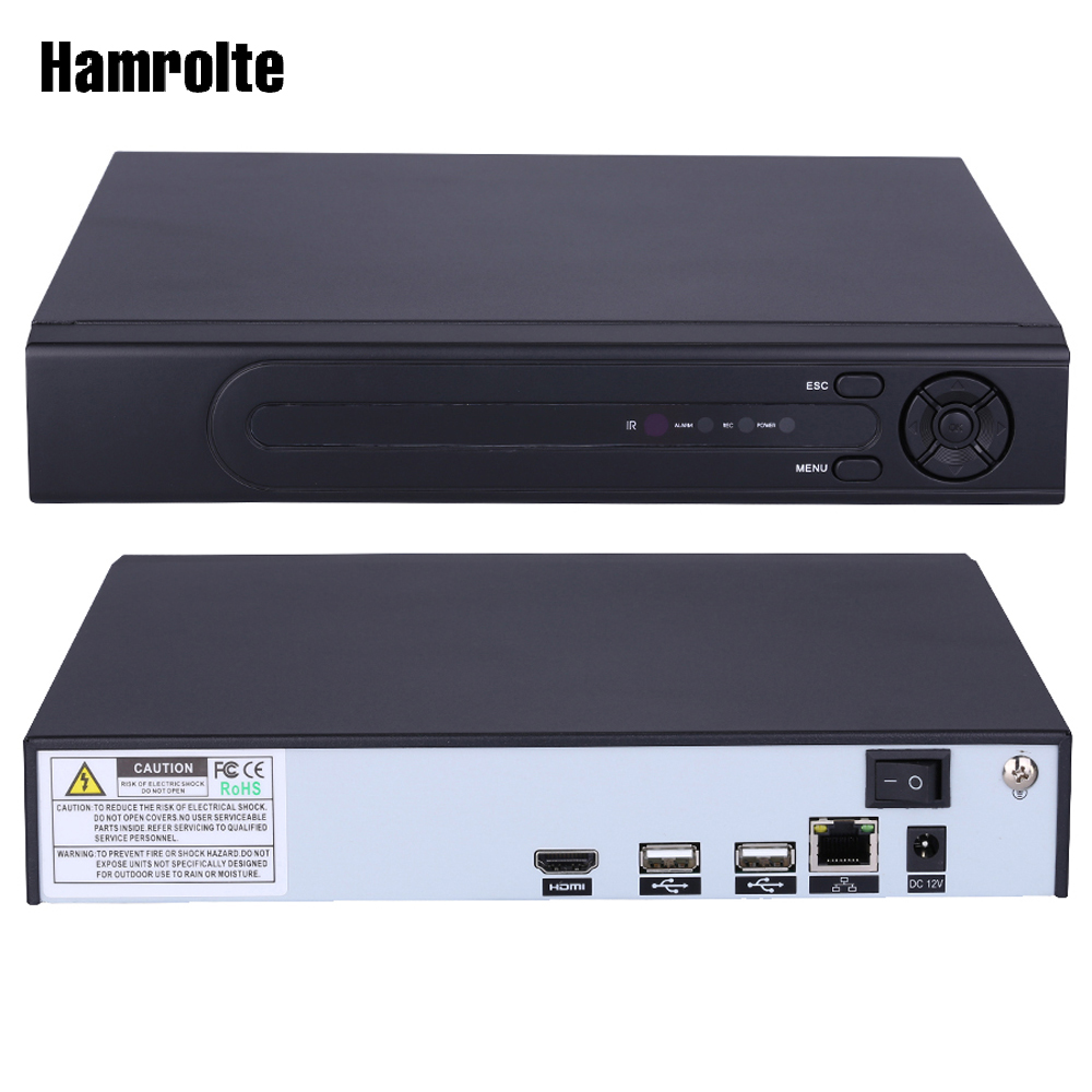 Hamrolte 8CH H.265 CCTV NVR Max 4K Output Security Network Recorder 4CH 5MP/8CH 3MP/16CH 960P Input For H.265/H.264 IP Camera