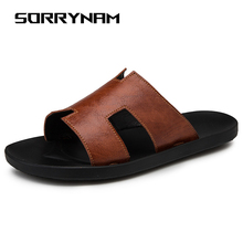 купить Men Slides Non-slip Male Slippers Man Flip Flops Summer Beach Home Bathroom Sandals Soft Outdoor Black White Casual Shoes Sandal по цене 1847.89 рублей