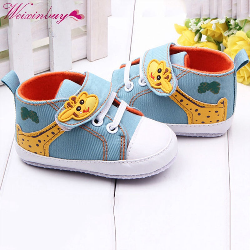 Kids Baby Boys Giraffe Canvas Anti-slip Infant Soft Sole Baby First Walkers Toddler Shoes 2019 baby toddler shoes kids flower soft sole girl first walkers