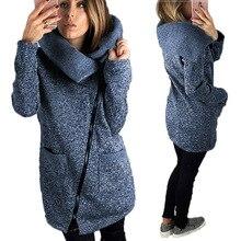 5XL на молнии женские куртки Осенне-зимнее пальто с длинным рукавом Твердые отложной воротник casaco feminino Пальто и пуховики Верхняя одежда плюс Размеры GV908