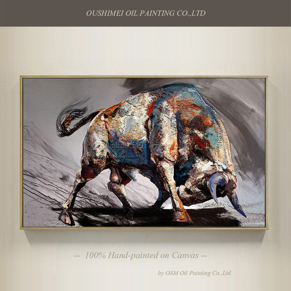 Top Artist Team Supply High Quality Modern Abstract Bull Fighting Oil Painting On Canvas Top Quality Bullfight Oil Painting