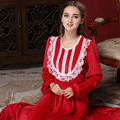 Autumn and winter Elegant long Palace Nightgown Close skin Velvet Gown Sleepgown lace connects body Red Robe Dresses Free Gift