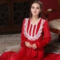 Outono e inverno Elegante Camisola pele Perto do Palácio Vestido De Veludo Sleepgown renda conecta corpo Red Robe Vestidos Dom Gratuito