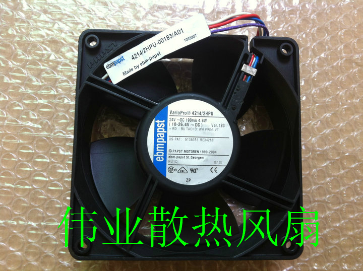 Original ebmpapst 12038 4214 / 2HPU 12CM 24V 4.6W 120 * 120 * 38MM four-wire converter fan waterproof fan sunon free shipping new original taiwan blower fan dp200a p n2123hsl 1238 12cm 12038 120 120 38mm 220v wire type