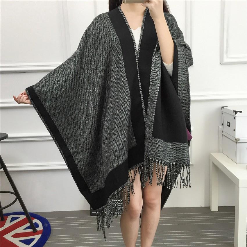 4ada8a772 New winter Classic fashion joker grey black double-sided oversized scarf Ms  lint warm shawl
