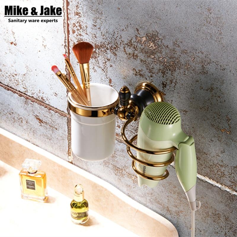 ФОТО Luxury Whole brass gold hair dryer holder rack golden hair dryer rack copper brass bathroom wall shelf