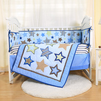 2018 wholesale 4pcs blue star baby crib bedding set for boys oeko tex 100 cotton