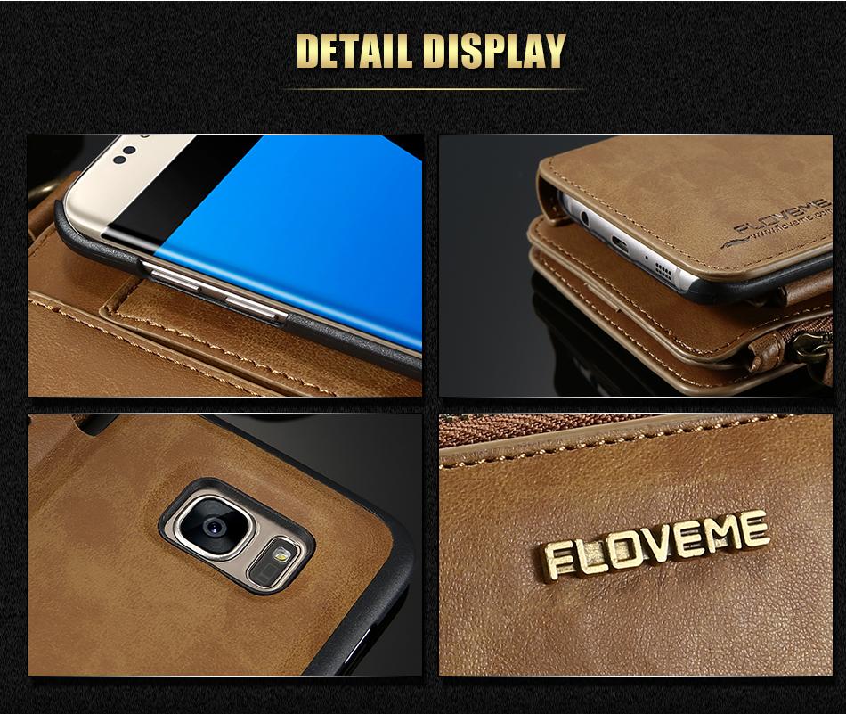 FLOVEME Hybrid Detachable Leather Case For Samsung Galaxy S7 Edge 18 Card Slot Metal Zipper Cash Storage Wallet Pouch Cover Bag (11)