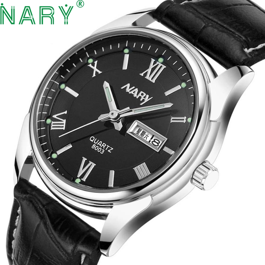 Essential NARY Wristwatch Bangle Bracelet 1PC Waterproof Men Date Dial Business Sport Leather Quartz Wrist Watch 17Tue27 essential nary wristwatch bangle bracelet luxury men stainless steel classical quartz analog wrist watch gift 17tue27