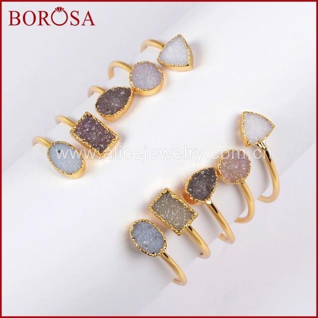 BOROSA Natural Agates Stone Bangle Cuff Geode Drusy Bangle Gold