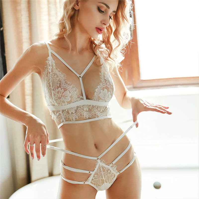 2019 New lace sexy lingerie bra set push up seamless embroidery bralette wire plus size transparent women underwear  Fashion(China)
