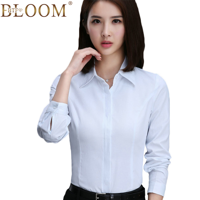 Women Cotton Chiffon Solid Color Formal Blouse Fashion Autumn Long