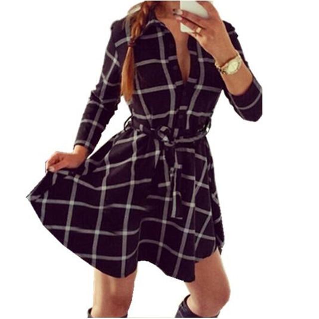 2015  Explosions Leisure Vintage Dresses Autumn Fall Women Plaid Check Print Spring Casual Shirt Dress Mini Q0035