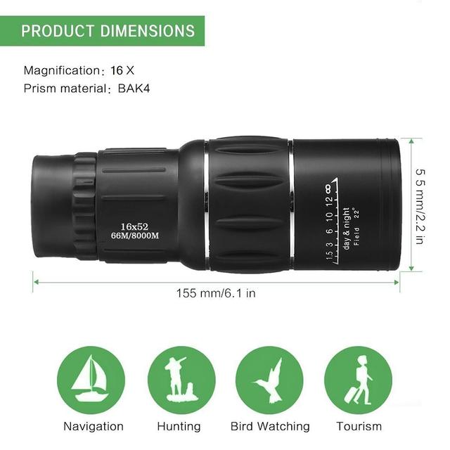 Waterproof Adjustable Dual Focus Monocular Binoculars (16 x 52)