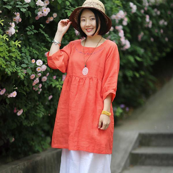 BUYKUD décontracté imprimé rouge haut de couleur lâche grande taille trois quarts manches tournesol irrégulière côté fendu T-Shirt coton capote