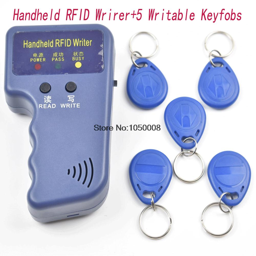 Handheld 125KHz EM4100 RFID Copier Writer Duplicator Programmer Reader +5 Pcs EM4305 T5577 Rewritable ID Keyfobs Tags Card handheld 125khz rfid duplicator key copier reader writer id card cloner programmer 5 keys 5pcs rewritable cards em4305 t5577